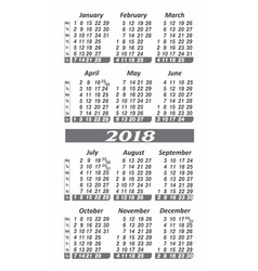 pocket 2018 year calendar image vector image