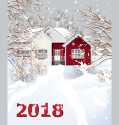 Red vintage house winter snowy background vector