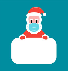 santa claus in protective facemask holding white vector image