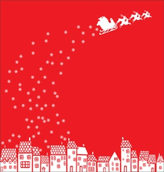 Santa Claus over the city vector