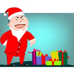 Santa Claus pointing on gift boxes vector image