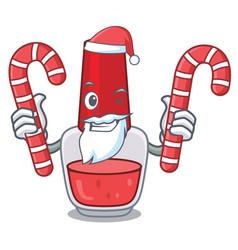 Santa with candy nail polish mascot cartoon vector