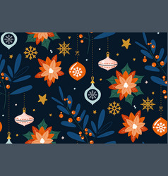 seamless pattern with floral design christmas vector image