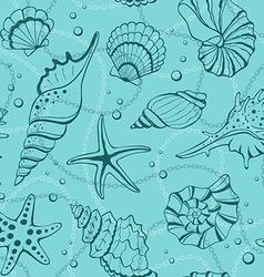 Seashells seamless background vector