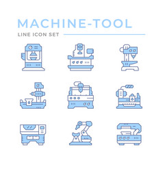 Set color line icons machine tool vector