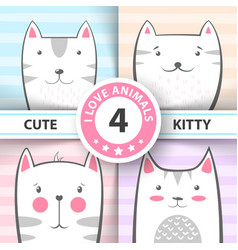 set cute pretty cat and kitty characters vector image