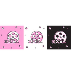 Set film reel with inscription xxx icon isolated vector