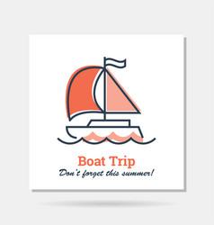 simple company logo example - boat trip vector image