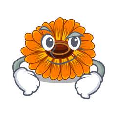 Smirking calendula flowers in a cartoon basket vector