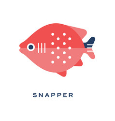 Snapper freshwater fish geometric flat style vector