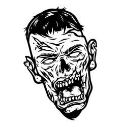 Spooky zombie head concept vector