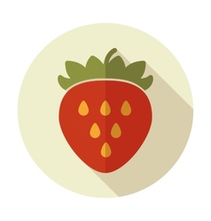 Strawberry flat icon with long shadow vector image