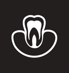 Stylish black and white icon healthy tooth vector