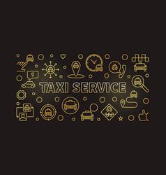 Taxi service concept golden thin line vector