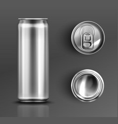 Tin can with open key front top and bottom view vector