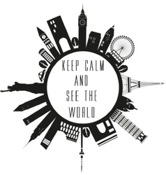 Travel globe in black and white with quote vector