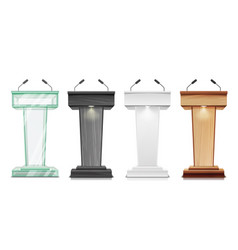 Tribune set podium rostrum stand with vector