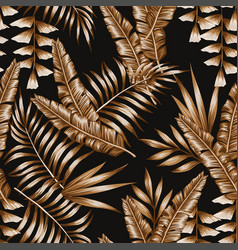 tropical brown leaves seamless pattern black vector image