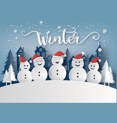winter season and merry christmas with snow man vector image