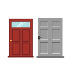 Wood two red and gray elegant entrance door vector