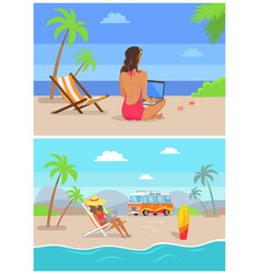 Work by seaside freelance set vector