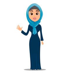 Arabic woman waving hand saying hello cute vector