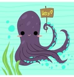 Cartoon funny octopus flat icon vector image vector image