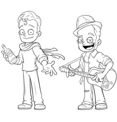 cartoon street musicians with guitar character set vector image