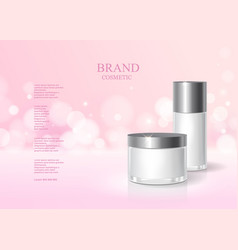 cosmetic pink bottle package design with cream vector image vector image