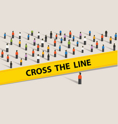 cross the line limit of social control group of vector image vector image