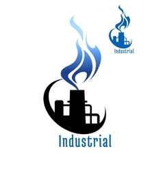 Industrial plant with blue gas flame vector image
