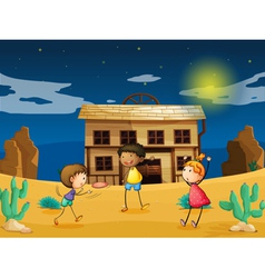 kids and a house vector image vector image