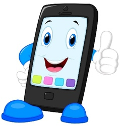 Smart phone cartoon giving thumb up vector