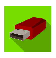usb flash drive icon in flat style isolated on vector image