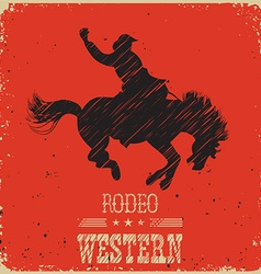 Western Cowboy riding wild horseWestern poster on vector image vector image