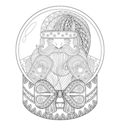 zentangle Christmas snow globe with Santa Claus vector image