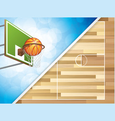 basketball concept with hoop and vector image