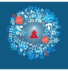 Christmas greeting card with snowflakes vector image vector image