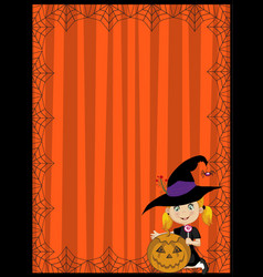 halloween of young witch with pumpkin on ora vector image vector image