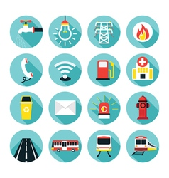 Public utility icons flat set vector