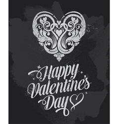 Retro Chalkboard Valentines Day design vector image vector image