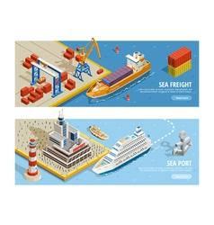 Sea Transportation Isometric Horizontal Banners vector image