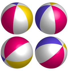 set 3D beach ball isometric vector image