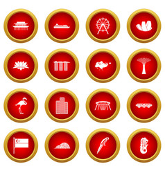 Singapore icon red circle set vector