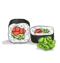 sushi color sketch UnakuiMaki roll vector image