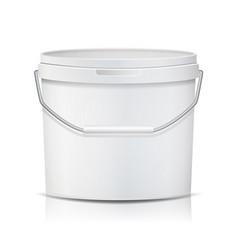 white bucket blank plastic tub bucket vector image