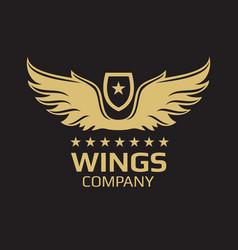 wings logo design - golden wings on black vector image vector image