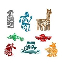 Aztec and maya ancient drawing art vector image