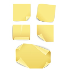 Blank yellow paper stickers collection vector image vector image
