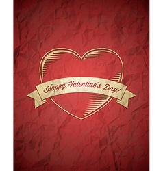Crumpled vintage Valentines Day card vector image vector image